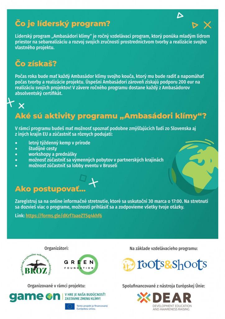Detaily programu ambasádor klímy
